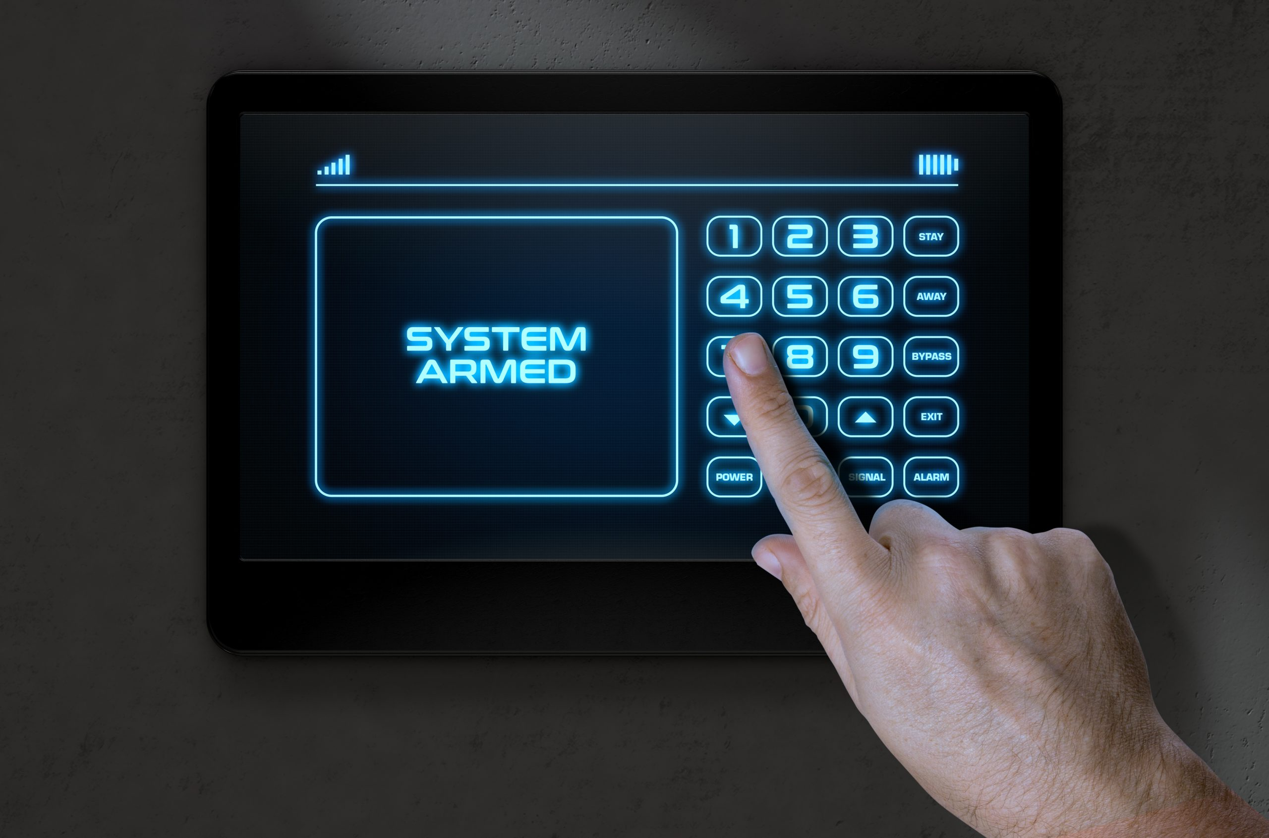 Hand Pressing Modern Home Security
