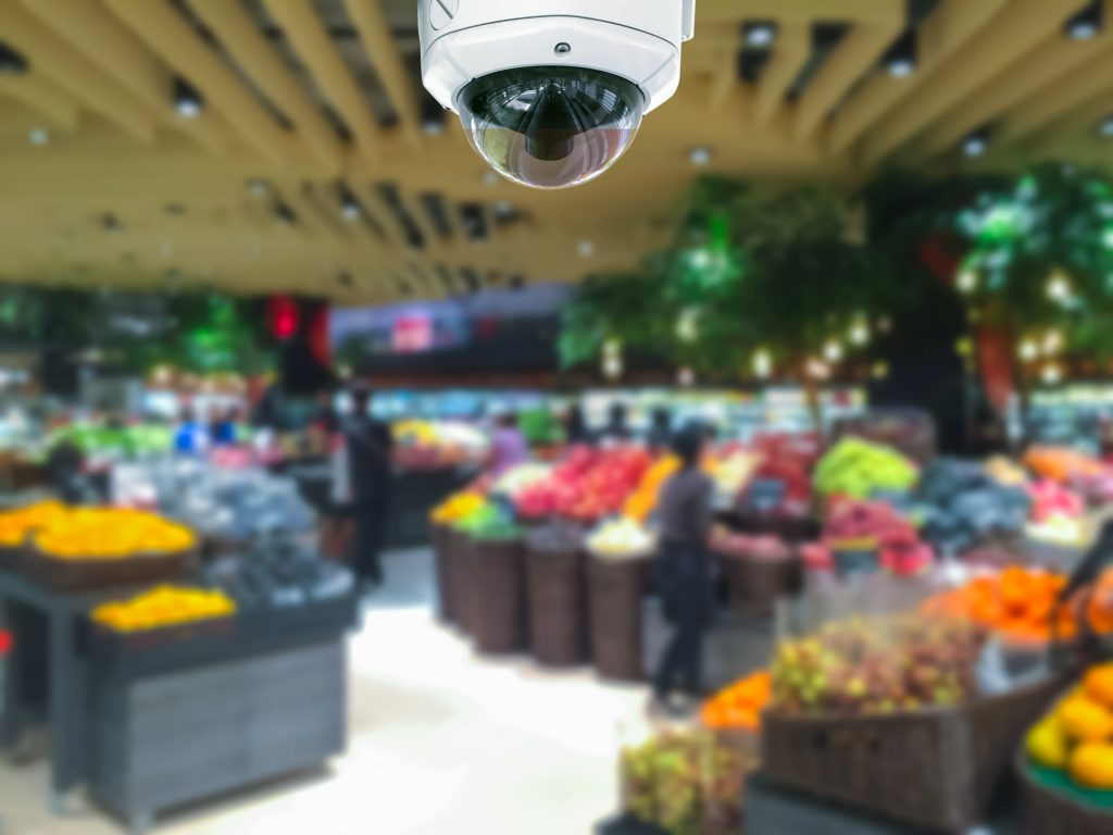 CCTV camera security in shopping mall