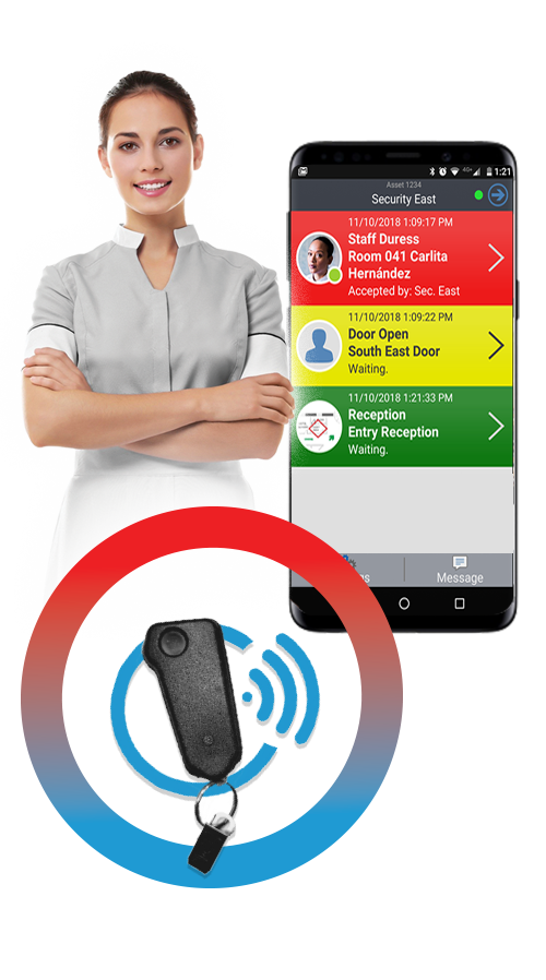 Panic button technology for hospitalty staff